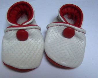 6 months booties white and red leather