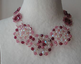 Evening necklace rose pink and clear