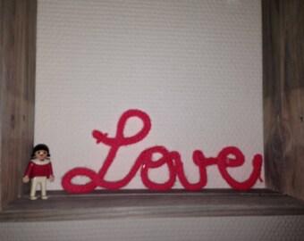 Word or name in knitting, wool, customizable