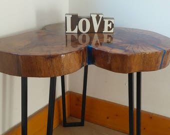 Resin table, Coffee table, Lamp table, End table, Decorative table, Unusual table, Solid wood, Oak, Margarita table