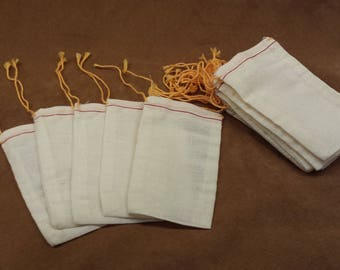 "20 New 3""x5"" Cotton Cloth Bags w Drawstring Orange Gold Drawstring Plain Muslin Bags for DYI Crafts Gifts Trinkets Wedding Favors Birthday's"