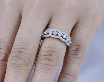 925 Sterling Silver Half Eternity CZ Wedding Band Ring Women Size 3-12 SS777