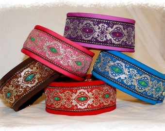 Dog collar Jacquard ribbon in many colours Elegant Design Pet jewellery Ornamental Fashion