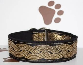 "NEW!Dog collar Jacquard ribbon ""Black leaf"" with unique golden ornaments in the most elegant design"