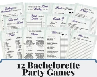 12 Bachelorette Party Games, Bridal Shower Games, Hens Night Games, Silver Dots Theme Party, Elegant Bachelorette Games