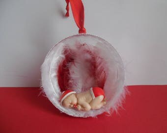 Baby boy polymer clay ornament