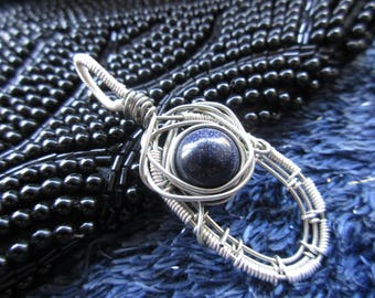 Handmade Wire Wrap Pendant with Blue Goldstone Bead