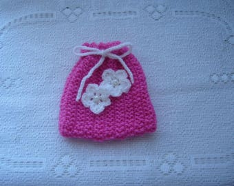 Clutch, pouch in pink and white to offer with wool charm creations