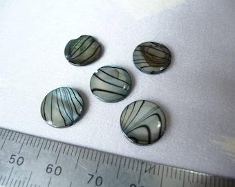 Set of 5 pucks in Pearl blue ribbed black 11 mm