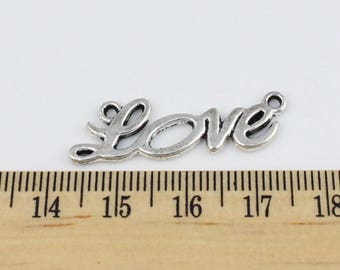 5 Silver Love Connector Charms -  Beautiful Cursvie Style Charms