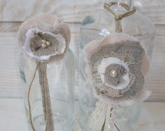 Set of 2 bottles deco flowers linen