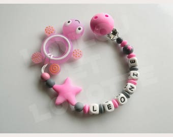 Soother/pacifier personalized silicone + teether/model Leonie ring