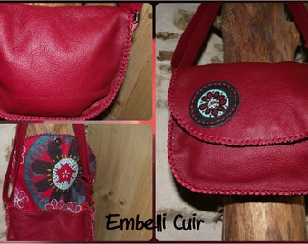 Small red genuine cow leather bag