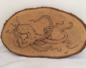 Octopus wood burning