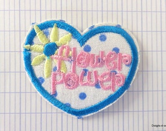 heart, fusible fabric appliques iron-on or sew badges