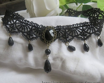Gothic Black Lace with round faceted beads and Medallion necklace