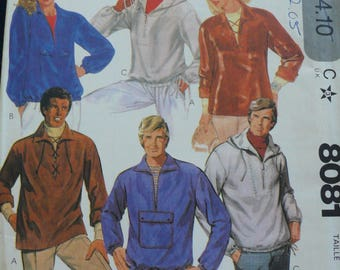 Men's, Misses' or Women's Hoodie, Pullover Top Pattern - Vintage McCalls 8081 - Size Medium