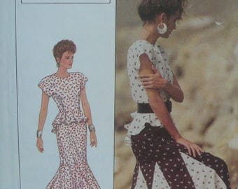 Womens Dress Pattern (2 piece), Peplum Top from the Sherry Holt Collection - Vintage Simplicity 8555 - Size 12-16