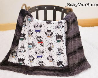 CribSizeShipsNow*** Woodland Super Heros Minky Blanket - Baby- Crib Blanket - Adult Blanket