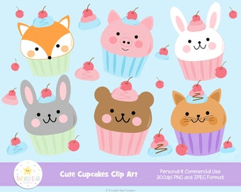 INSTANT DOWNLOAD, Cupcake Clipart, Cute Animal Cupcake Clip Art, Teddy Bear, Bunny, Cat, Fox, Dessert, Sweet, Graphic, Image, Commercial Use