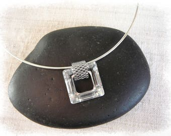 square pendant necklace swarovski crystal silver night 20 X 20 mm Crystal