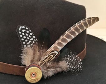 Feather & Cartridge Hat Pin or Brooch - Blue