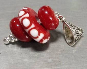 Glass pendant red and white fish scales. Lampwork Glass Beads