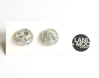 Circle Dome Square Clear Resin Stud Metallic Silver Leaf Statement Earrings!