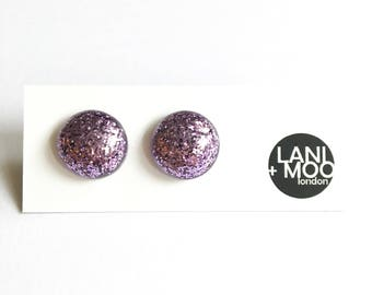 Circle Purple Glitter Resin Stud Statement Earrings!