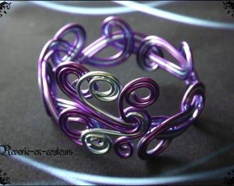"Adult Arabesque bracelet ""Nocturne"" aluminum wire"