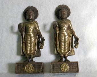Brass Buddha Goddess Figure Bookends Buddha Pose Abhaya Mudra Energy of No Fear Vitarka Mudra Teaching Transmission Feng Shui Inspiration