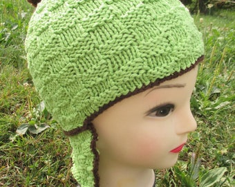 St Patrick's day green and Brown Peruvian wool knitted Pompom Beanie