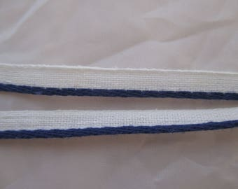 2 meters of vintage Navy Blue piping & white 0.7 cm