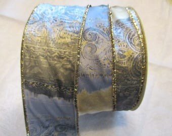 10 m gray and yellow and Gold Ribbon with moire effect