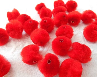 x 6 tassel plush red 15 mm with tube beads.