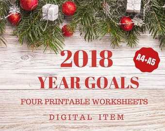 2018 Year Goals Printable Worksheets - Instant Download - Digital Item