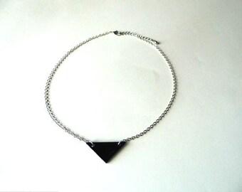 Black leather triangle pendant necklace