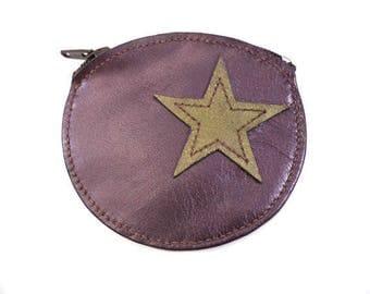 Billfold wallet leather violet color with star