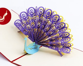 Handmade 3D pop up popup card purple yellow peacock birthday Valentines mother's day Easter father's day wedding anniversay party invitation