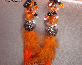 Halloween earrings with pearls & feathers