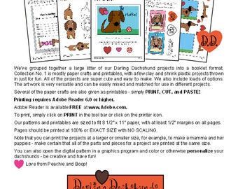 Darling Dachshunds Project Book No. 1 _ Paper Crafts & Printables  + Patterns _ Cute! FUN! Easy to Make DOG Accessories_Digital Download_PDF