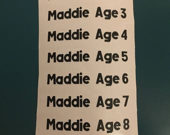 Vinyl Name Stickers for Height Chart Age 1-18