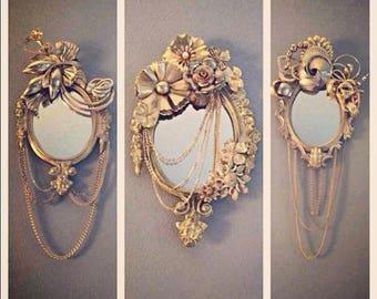 Vintage Jewelry Gold Mirror Art Piece