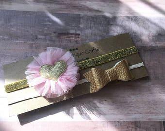 Hairband Set, Gold and Pink, Girls Hairband Heart, Bow, Glitter Headband, Holiday Stocking Gifts