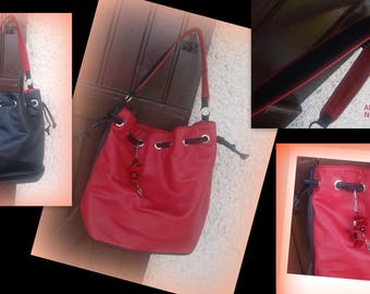Red and black leather Messenger bag