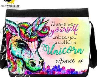 Unicorn Splash Messenger Personalised -  School Bag / College Bag
