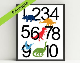 Printable Dinosaur Number  Poster, Dinosaur Nursery Art, Dinosaur Kids Wall Art, ABC, Instant download