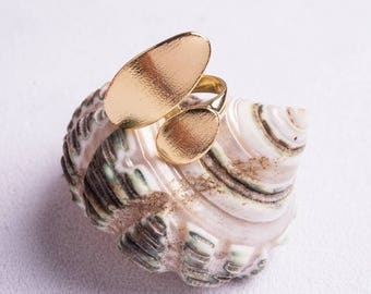 Ovals Ring, Shiny Gold Plating Ring - My Jewelry Spot
