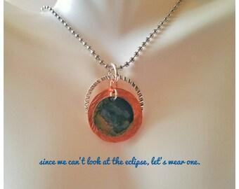 Hand Stamped Metal Necklace/ Metal Stamped Necklace/ Circle Necklace/ Layering Necklace/ Stamped necklace