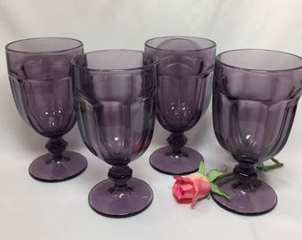 Amethyst Purple Libbey Gibraltar Duratuff  Footed Water Goblets - set of 4